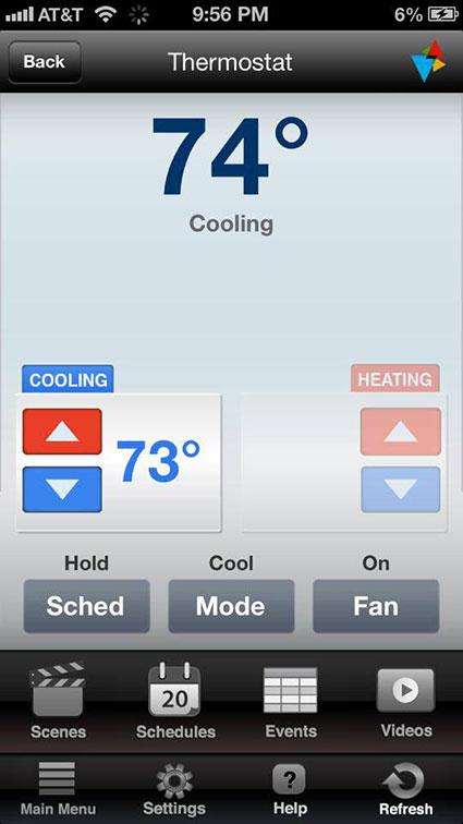Thermostat Smart Phone App Screenshot